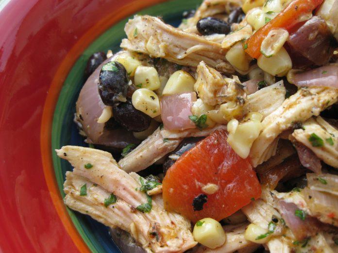 Peruvian Chicken Salad with Grilled Veggies