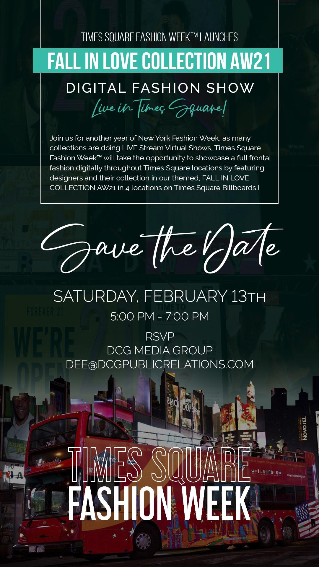 Lights! Camera! Times Square Fashion Week kicks off a Digital Fashion Experience on a NYC Double Decker Bus!